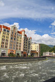 Krasnaya Polyana.  Sochi 2014 -Olympic Park, Roza Khutor, hotels Stock Photo