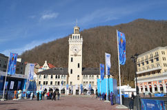 Krasnaya Polyana tijdens de winter Olympische spelen Royalty-vrije Stock Afbeelding