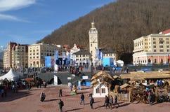 Krasnaya Polyana tijdens de winter Olympische spelen Stock Fotografie