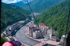 Krasnaya Polyana top view royalty free stock image