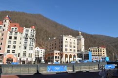 Krasnaya Polyana during winter Olympic games Stock Images