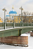 Krasnoarmeiskybrug over Fontanka, St. Petersburg, Rusland Stock Fotografie