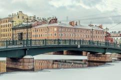 The Krasnoarmeyskiy Red Army bridge in Saint Petersburg. Royalty Free Stock Images