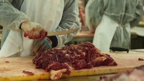 Krasnodar, Ρωσία - 01 25 2018: Ο χασάπης χαράζει ένα σφάγιο αγελάδων σε ένα εργοστάσιο κρέατος σε ένα πλήρες hd φιλμ μικρού μήκους
