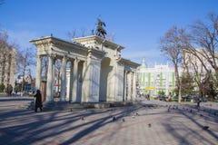 Krasnodar. Arch of saint Georgiy and bust of Geogiy Zhukov Stock Photography
