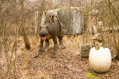 Krasnodar, Federação Russa 5 de janeiro de 2018: Modelo do dinossauro em Safari Park da cidade de Krasnodar fotografia de stock