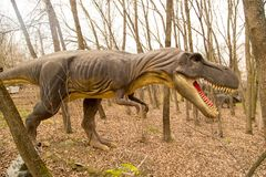 Krasnodar, federacja rosyjska Styczeń 5, 2018: Model dinosaur w safari parku miasto Krasnodar Obraz Royalty Free