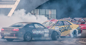 KRASNODAR - MAY 14, 2017: car battles in Drift Battle Series 2017, Russia, on May 14, 2017 Royalty Free Stock Image