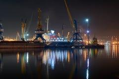 Vew of night port Novorossiysk stock image