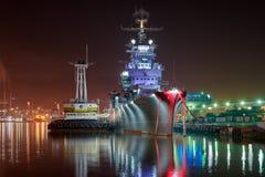 Vew of night port Novorossiysk stock photo