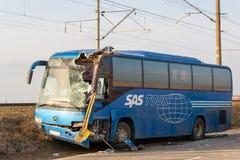KRASNODAR region ROSJA, MARZEC, - 28, 2018: Międzymiastowy autobus le Fotografia Royalty Free