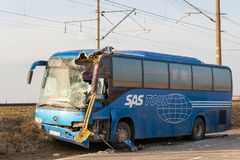KRASNODAR-REGION, RUSSLAND - 28. MÄRZ 2018: Der Fernbus Le Lizenzfreie Stockfotografie