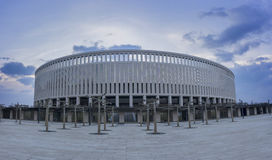 Krasnodar Rosja, Luty, - 22, 2017: Parkowi jaworowi drzewa przed stadium FC Krasnodar na Luty 22, 2017 Obrazy Stock