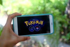 KRASNODAR, ROSJA - na Lipu 26,2016: Pokemon Iść jest lokacją Zdjęcie Stock