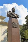 The monument to Marshal Georgy Zhukov on a summer day in Krasnod. Krasnodar, RUSSIA - AUGUST 18, 2015: a Bust of military leader Marshal Georgy Zhukov Royalty Free Stock Photo