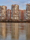 JK Novyj Gorod. Beautiful view of the complex of residential buildings with all the infrastructure in the golden hour. royalty free stock photography