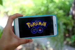 KRASNODAR, RUSSIA - on  July 26,2016:  Pokemon Go is a location- Stock Photo