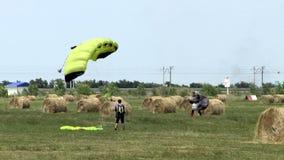 KRASNODAR, RUSSIA - JUNE 05, 2015: Parachute stock video footage