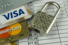 Krasnodar, Russia - October 30, 2017 : Protection of credit Visa and Master cards against hacker attacks. Krasnodar, Russia - October 30, 2017: Master card and stock photo