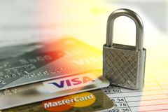 Krasnodar, Russia - October 30, 2017 : Protection of credit Visa and Master cards against hacker attacks. Stock Image