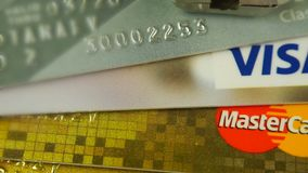 Krasnodar, Russia - October 30, 2017 : Protection of credit Visa and Mastercards against hacker attacks. stock video