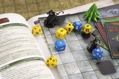 Krasnodar, Russia, 14 September 2018: Playing Dungeons and dragons rpg game: dices, character cards, map. Board, tabletop or role playing games. Fantasy royalty free stock photos