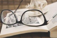 Krasnodar, Russland - 17. Juli 2018: Fertig werden, Hobbit, einen Fantasieroman zu lesen durch J r r tolkien Gläser, Plastikminia lizenzfreie stockfotografie