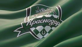 Krasnodar Ryssland -, kan 2019 Vinkat specificerade h?gt n?rbildgr?splanflaggan med emblemet av FC Krasnodar illustration 3d stock illustrationer