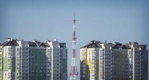 KRASNODAR - SIERPIEŃ 16, 2017: Widok z lotu ptaka telewizi wierza w mieście, Krasnodar, Rosja Zdjęcia Royalty Free