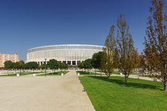 Krasnodar Stadium is a football stadium of the club of the same name in the East Kruglikovskiy district of the city. Sunny autumn. Krasnodar, Russia-October 19 royalty free stock image