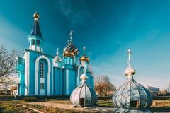 By Krasnoe, Gomel region, Vitryssland Gammal ortodox kyrka av antagandet på Sunny Spring Day berömd landmark royaltyfri bild