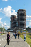 Krasnogorsk Rosja, Lipiec, - 09 2016 Budowy centrum biznesu Dwa i biura kapitany Fotografia Stock