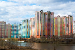 KRASNOGORSK, RUSSIA - APRIL 18,2015. Krasnogorsk is city and center of Krasnogorsky District in Moscow Oblast located on Moskva Ri Royalty Free Stock Photo