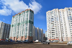 KRASNOGORSK, RUSSIA - APRIL 22,2015: Krasnogorsk is city and center of Krasnogorsky District in Moscow Oblast located on Moskva Ri Stock Photos