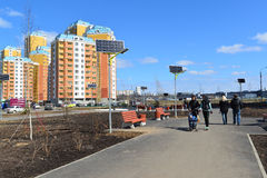 KRASNOGORSK, RUSSIA - APRIL 22,2015: Krasnogorsk is city and center of Krasnogorsky District in Moscow Oblast located on Moskva Ri Stock Photography