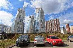 KRASNOGORSK, RUSSIA - APRIL 22,2015: The new construction districts in  suburbs. Area of residential development on about 2 millio Royalty Free Stock Image