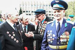 Participants in hostilities in World War II on the 60th Victory Day  - May 9, 2005 royalty free stock photo