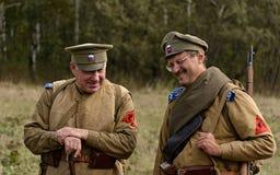 KRASNOGVARDEYSKIY,斯维尔德洛夫斯克州,俄罗斯- 2016年9月11日:俄国内战的历史再制定在191的乌拉尔 免版税图库摄影