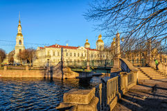 The Krasnogvardeysky bridge and the bellfry the domes of the St. Nicholas Naval Cathedral. Royalty Free Stock Photography