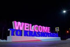 Krasnojarsk-Flughafen krasnoyarsk Russia-17 02 2019 Willkommensschild für das KRASNOJARSK, RUSSLAND - 9. Januar 2018: ein Willkom stockbilder