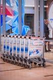 Krasnojarsk-Flughafen krasnoyarsk Russia-17 02 2019 Willkommensschild für das KRASNOJARSK, RUSSLAND - 9. Januar 2018: ein Willkom lizenzfreies stockfoto