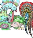 Krasnojarsk, Jahr des Hahnes Stockbild