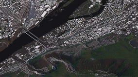 Krasnojarsk-Karte in den isometrischen Stra?en und den Geb?uden der Landschaft 3d stock abbildung