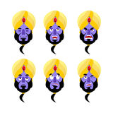 Krasnoludka emoji Emocja set Agresywna i dobra Magiczna duch twarz royalty ilustracja