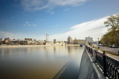 Krasnopresnenskaya embankment and Moskva-river. Moscow, Russia. Royalty Free Stock Images