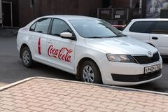 Krasnoyars, Ρωσία, στις 3 Ιουλίου 2019: Coca-cola Company αυτοκίνητο η Ρωσία στοκ φωτογραφίες