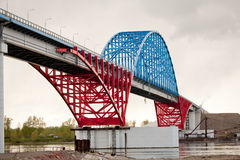 krasnoyarsk моста ближайше к yenisei Стоковое фото RF
