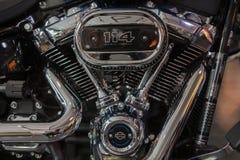 Krasnoyarsk, Россия - 24-ое ноября 2018: Деталь и логотип Harley - Davidson стоковые изображения rf