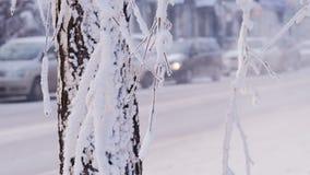 Krasnoyarsk/Россия - 25-ое января 2018: автомобильное движение в зимнем дне в центре города видеоматериал