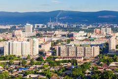 Krasnoyarsk aerial panoramic view Royalty Free Stock Photos
